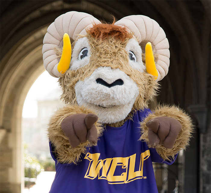 Rammy (WCU Mascot) pointing at the photo taker