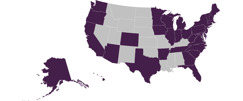 Map with States of Out of State Students Highlighted