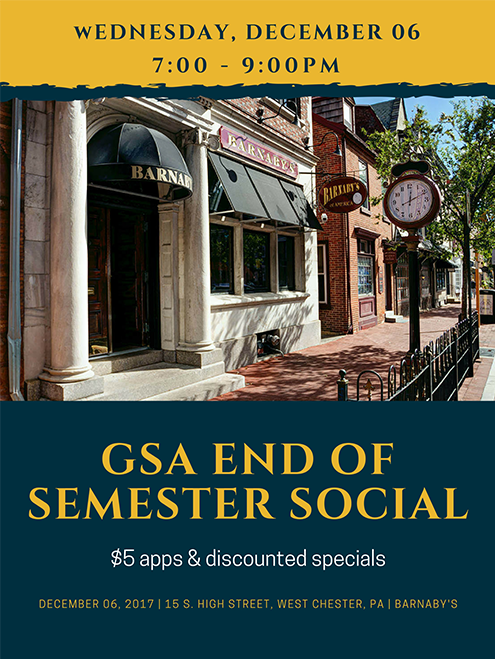 GSA End of Semester Social - $5 apps & discounted specials - Wednesday, December 06: 7:00 - 9:00pm