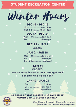 Student Recreation Center Winter Hours 2018