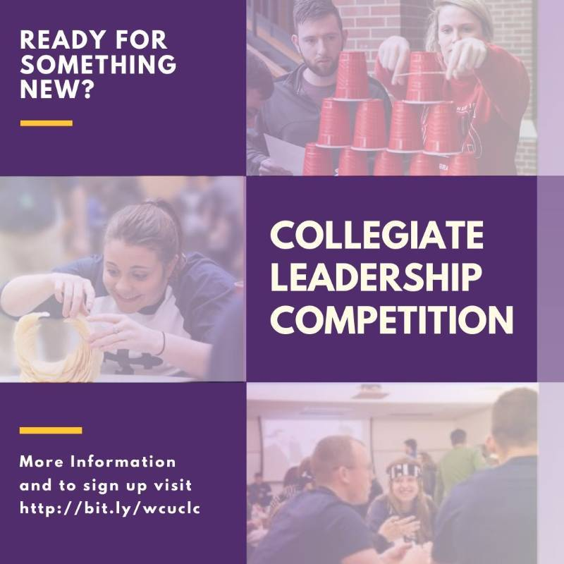 3 purple squares that read. Be a part of something new. Collegiate Leadership Competition. Sign up at http://bit.ly/wcuclc