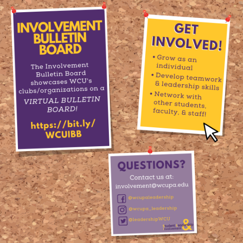 Cork background, with three post it notes. Text reads Spring Involvement Bulletin Board