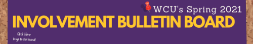 Purple square with yellow text that reads Involvement Bulletin Board