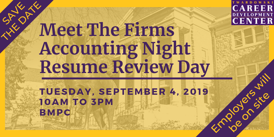 Save the Date - Meet the Firms Accounting Night Resume Review Day - Tuesday, September 4, 2019 - 10:00am to 3:00pm - BPMC - Employers will be on site