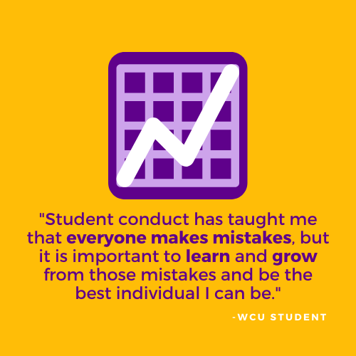 Student conduct has taught me that everyone makes mistrakes, but it is important to learn and grow from those mistakes and be the best individual i can be. - WCU Student