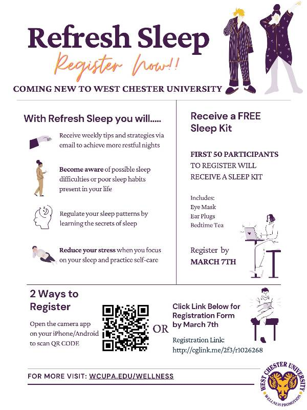 Refresh Sleep Campaign Poster with Images of people in pajamas.  Program opens March 8.  Registration information on Wellness Promotion Ram Connect Page