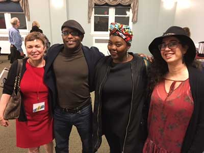 L-R: Kim Bridgford (Director), Tyehimba Jess (Spotlight Reader, Pulitzer Prize Winner), Mahogany Browne (Faculty Member), and Alice Mizrachi (Artist-in-Residence) at Poetry by the Sea 2017.