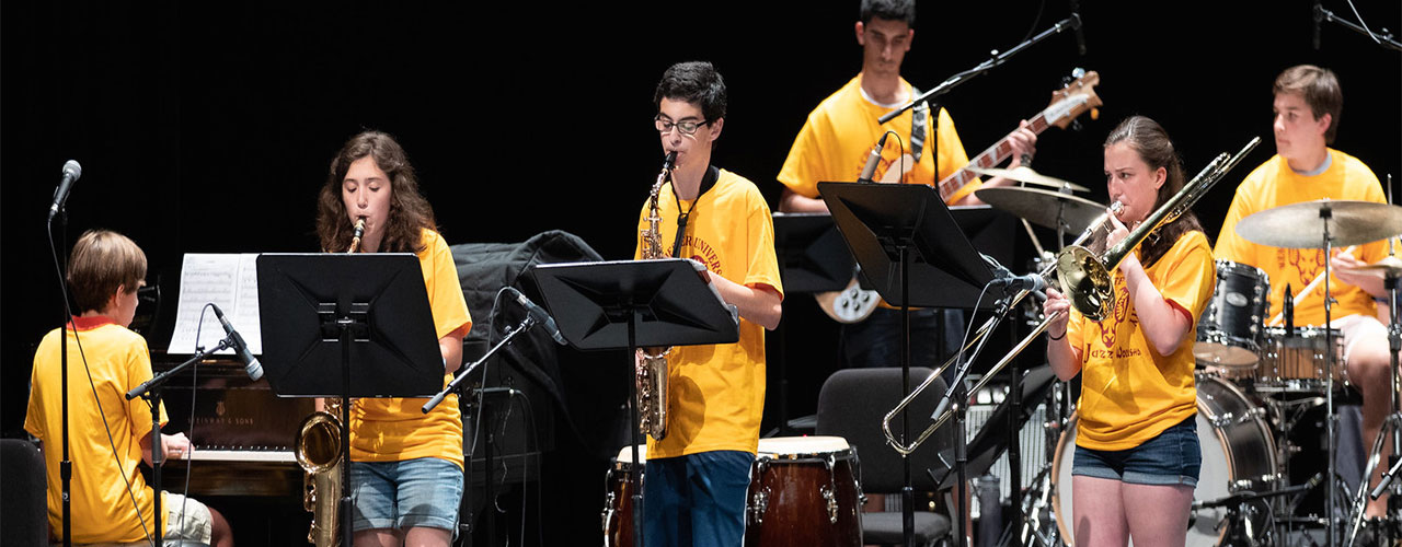 Jazz camp musicians playing music
