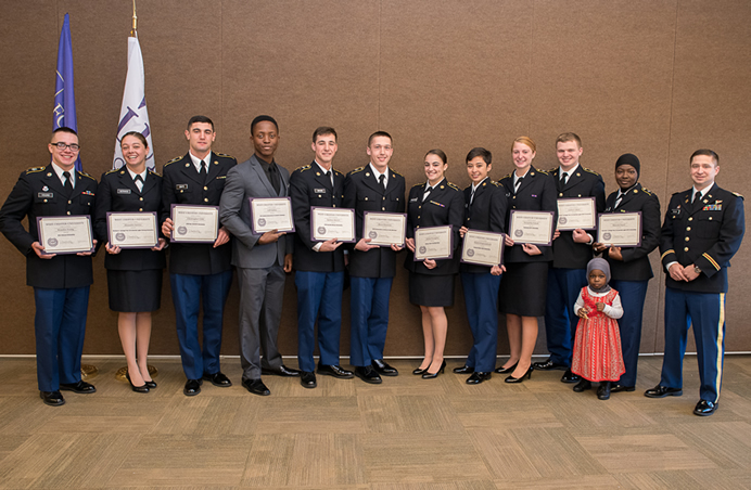 Pictured at the fifth annual Military Scholarship Breakfast are (L-R) the following cadets: Brandon Young, Alexandra Service, Christopher Critti, Jeff Gaston, Zachary Boveri, Reece Firestone, Jaclyn Traviglini, Elmira-Hope Ecklund, Samantha Polyak, Andrew Lihou, Maryam Yusuf, and CPT Matthew Pochak (instructor)
