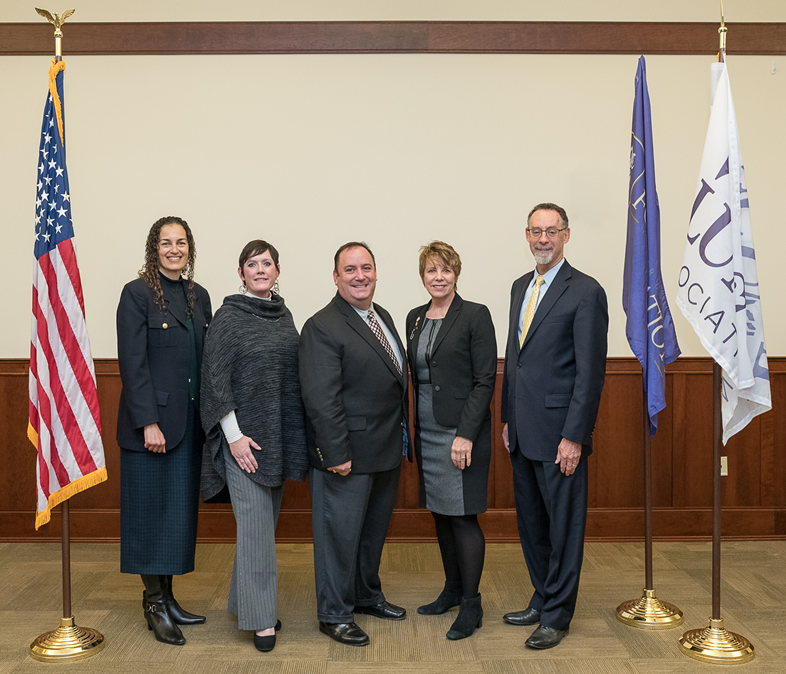 Pictured (L-R) Lillian Morrison, Greg and Sandra Weisenstein Veterans Center Coordinator; Kate Wickersham, WCU Foundation Assistant Director of Development; Chris Mominey, WCU Foundation Chief Executive Officer; Brigadier General (Retired) Carol Eggert; and West Chester University President Chris Fiorentino