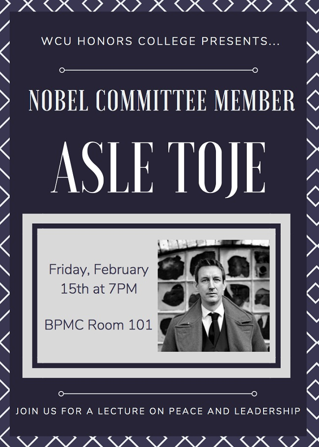 Asle Toje speaking at WCU on Feb 15 2019