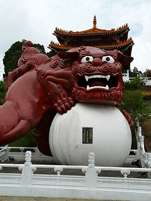 Large red chinese dragon statue
