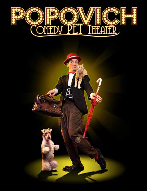 Poster for Popovich comedy pet theater man with dog and cat