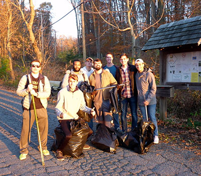Members of the Friar's Society participating in a cleanup of the trail system (Nov. 2016)