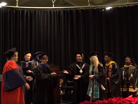 Students accepting their diplomas