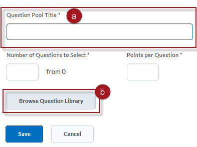Enter Title and click on Browse Question Library