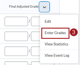 Screenshot of Enter Grades dropdown