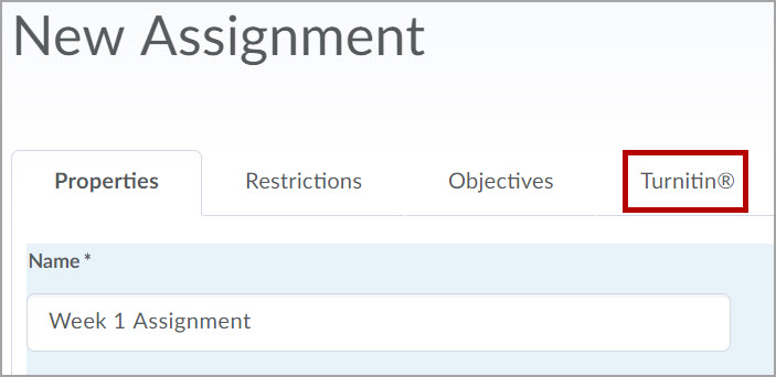 New Turnitin tab in Assignment creation or editing