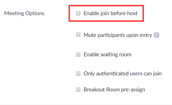 "This shows the ""Enable join before host"" box as unchecked in the Personal Meeting Room settings in Zoom."