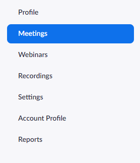 A red box is around the word Meetings in the left-hand sidebar navigation in Zoom.