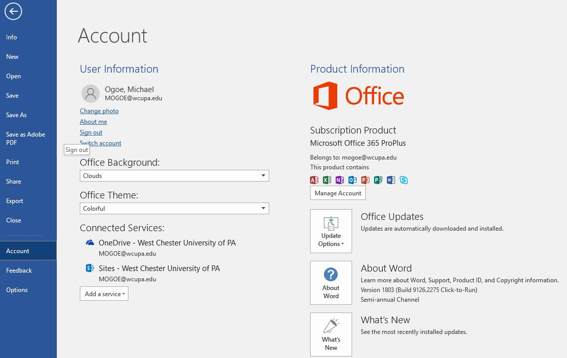 Removing Access to WCU OneDrive Data through O365: