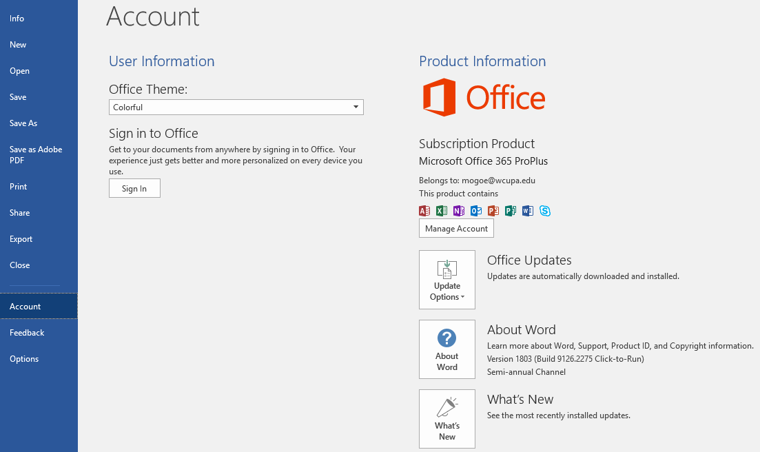 After Signing out, the user's WCU O365 subscription will remain active as seen below: