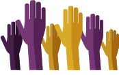 Graphic of hands raised