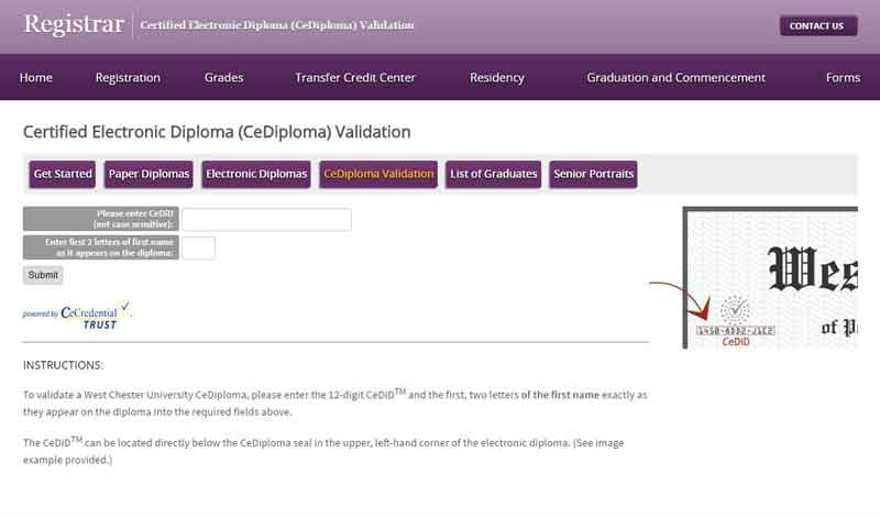 WCU Electronic Diploma Validation