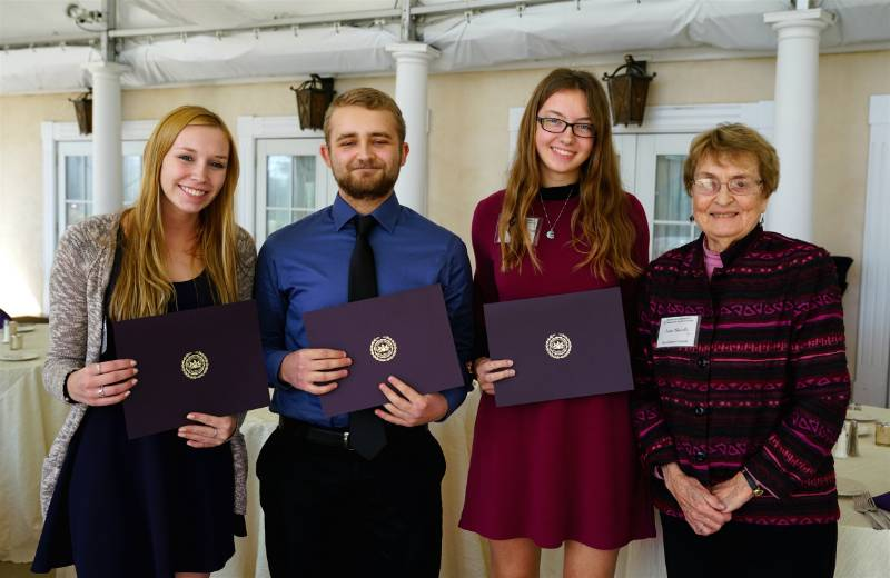 Professor Ann Skeath with Sarah C. Adcock, Mitchell P. Henderson and Kaitlyn Cannon, recipients of the Dr. and Mrs. Albert E. Filano Mathematics Scholarship