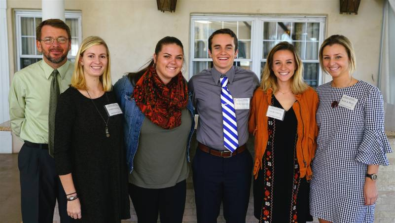 Dr. Brian Bowen with Jennifer N. Ciccotosto, Sarah A. Haff, Tyler J. Lonergan, Caitlin M. Oswald and Kelly A. Pruitt, recipients of the Mark Wiener Endowment Award