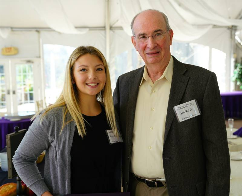 Mr. James Rubillo '63, DSc (Hon) '04 and Katie P. Deegan, recipient of the Class of 1963 Scholarship for Promising Math Education Majors