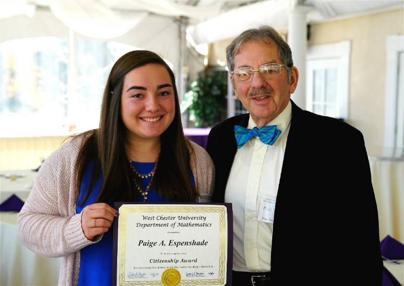 Dr. Paul Wolfson presenting Paige A. Espenshade with the Citizenship Award