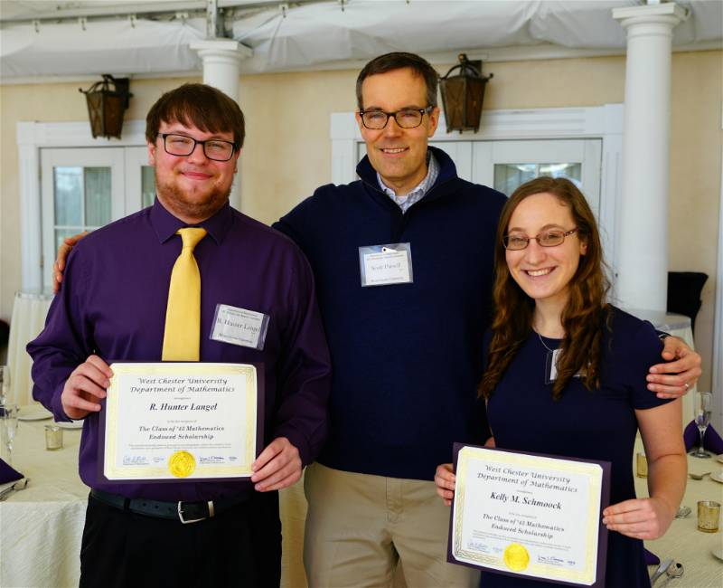 Dr. Scott Parsell withR. Hunter Langel and Kelly M. Schmoock, the recipients of the Class of 1943 Mathematics Scholarship