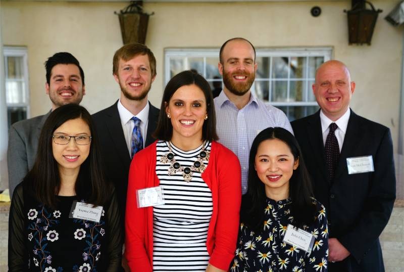 Dr. Scott McClintock with Patrick Murphy, Joseph Sobieski, Michael Pol, Yuping Zhang, Jialai Chen and Dana Heleniak, recipients of the Applied Statistics Scholarship