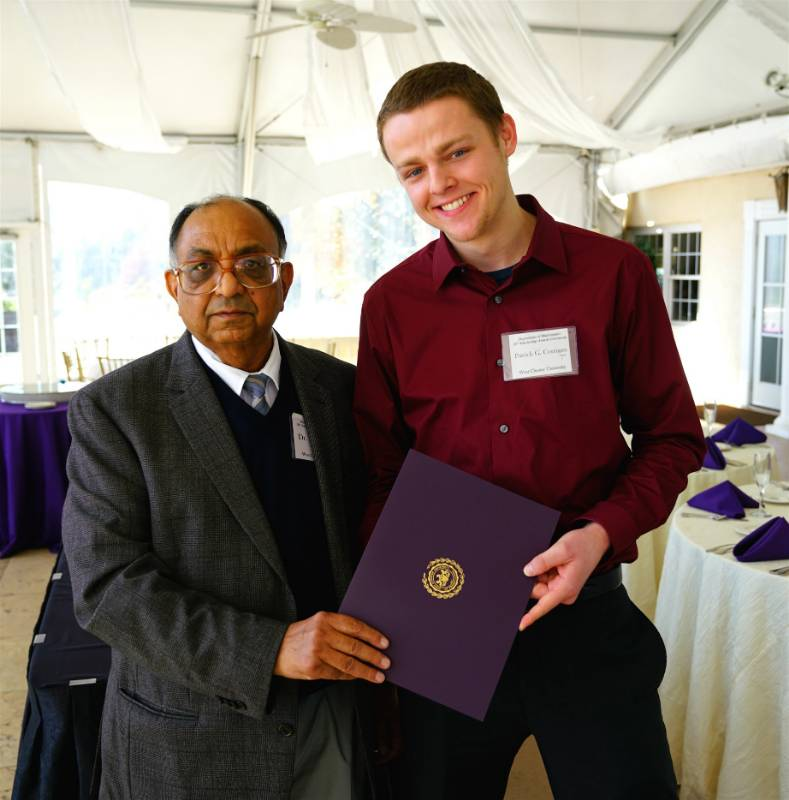 Dr. Shiv Gupta and Patrick G. Corrigan, recipient of the Frank E. Milliman Scholarship