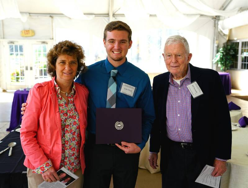 Ms. Vaune Rohlfs, Professor William Seybold and Tyler Prehl, recipient of the Dr. Michael P. Montemuro Memorial Scholarship