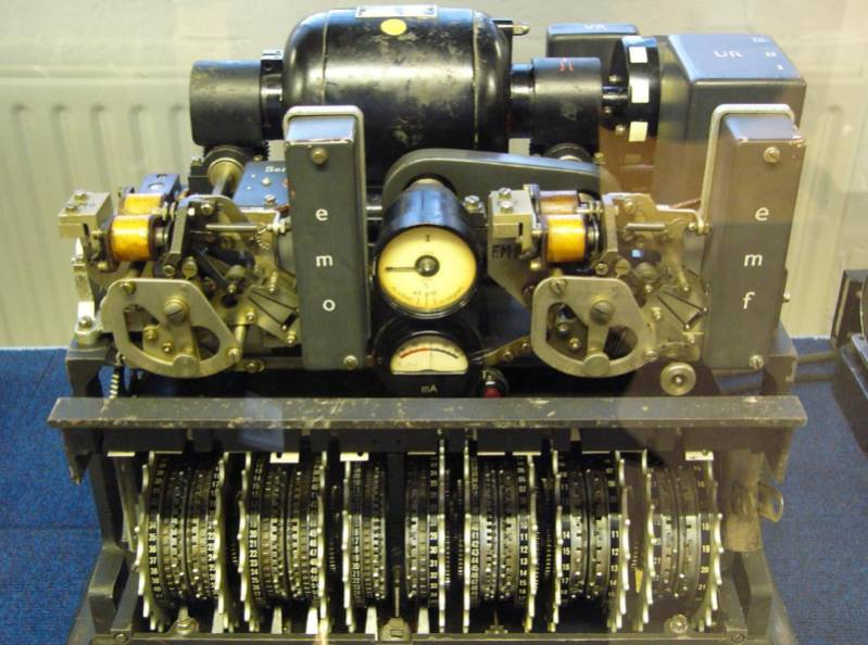 German Lorenz cipher machine, used in World War II to encrypt very-high-level general staff messages (source: Wikipedia)