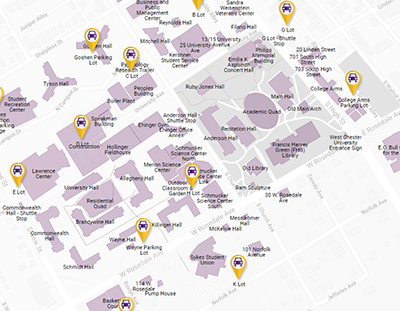 West Chester University Map Parking and Permits   West Chester University