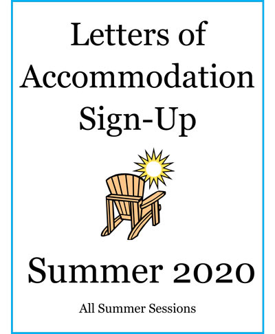 Letters of Accomodation Summer