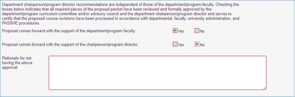 Screenshot of department chair section. Proposal comes forward with the support of the department/program faculty, is answered yes. Proposal comes forward with the support of the chairperson/program director is answered no.